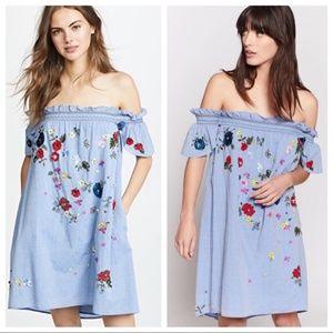 Joie Clarimonde Embroidered Denim Dress